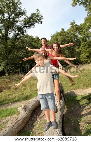 Family having fun on hiking day