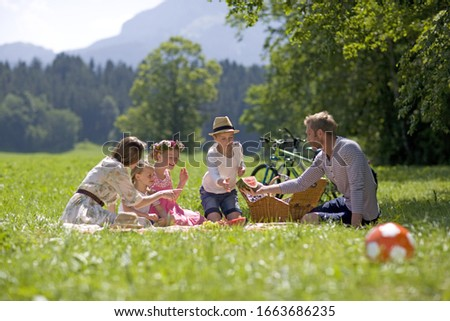 Family having picnic in meadow