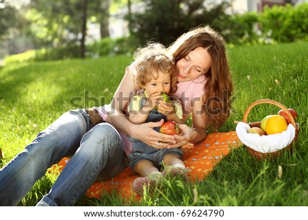 Family having picnic in summer park