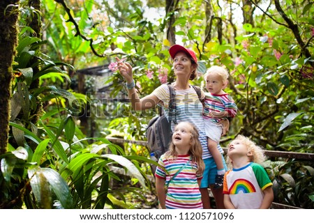 Family hiking in jungle. Mother and kids on a hike in tropical rainforest. Mom and children walk in exotic forest. Travel with child. Borneo jungle and mountains. Boy and girl explore nature in Asia.