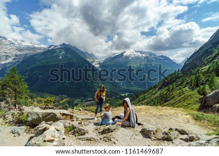 Family hiking in mountains, Alps, France, sunny #1161469687