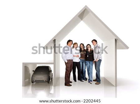family home and car over a white background