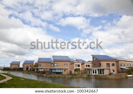 Family homes with Solar panels on the roof
