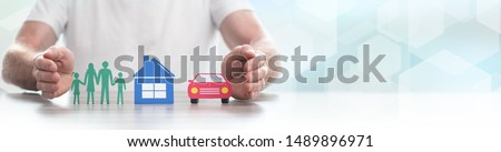 Family, house and car protected by hands - Concept of life, home and auto insurance - Panoramic banner