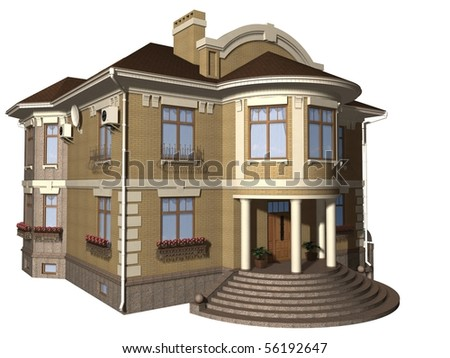 Family house 3d illustration isolated on white background
