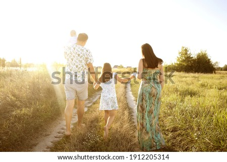 family in a field at sunset walking with their backs in the framefamily in a field at sunset walking with their backs in the frame