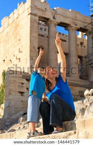 family in Acropolis, Athens, Greece