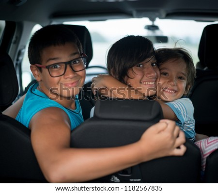 Family in car travel during vacation