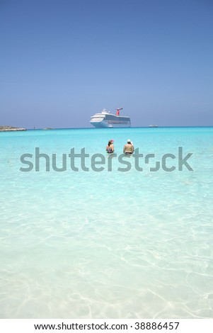 Family in front of a cruise ship
