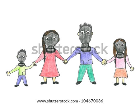 Stock Photo Family in gas masks. Child's drawing of future life.