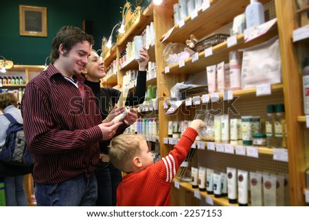 family in healthcare shop