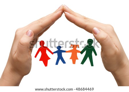 Family in house made of hands isolated