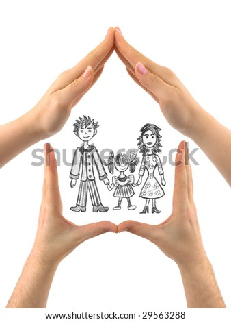 Family in house made of hands isolated on white background