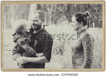 Family In Park Black And White Ez Canvas