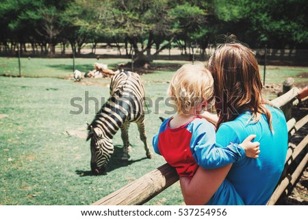 family in zoo- mother and son looking at zebra - Shutterstock ID 537254956