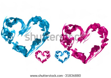 family Ink hearts. abstract. aquatic