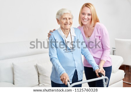 Family is doing domestic care with old woman as mother and daughter as help