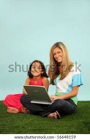 Family Laying Together Outside In The Grass With Computer