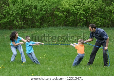 family leisure activity - tug-of-war