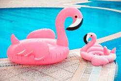 Family look. Two Pink pool floats flamingo by blue water, pool party toy. Giant Inflatable Swimming Ring. Summer vacation holiday luxurious resort.