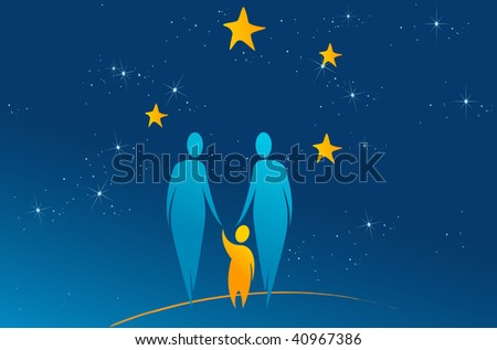 Family looking at stars - christmas concept