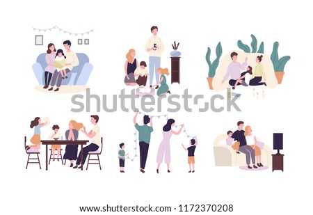 Family members spending time together at home. Mother, father and children reading book, decorating house, watching TV. Cute cartoon characters isolated on white background. Flat illustration.