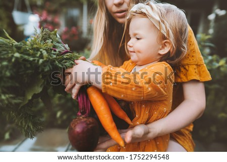 Family mother and child girl with organic vegetables healthy eating lifestyle vegan food homegrown carrot and beetroot local farming grocery shopping agriculture concept