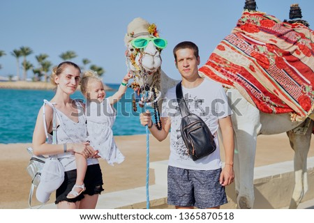 Family near the camel.  Beautiful people on vacation in Egypt.  Colored look.  Happy baby on mother's hands