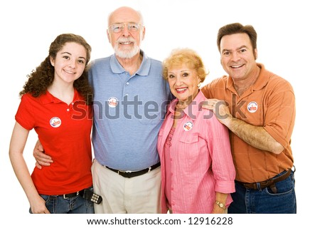 Family of American voters ranging in age from teen to senior.  Isolated on white.  I Voted stickers are generic, not trademarked.