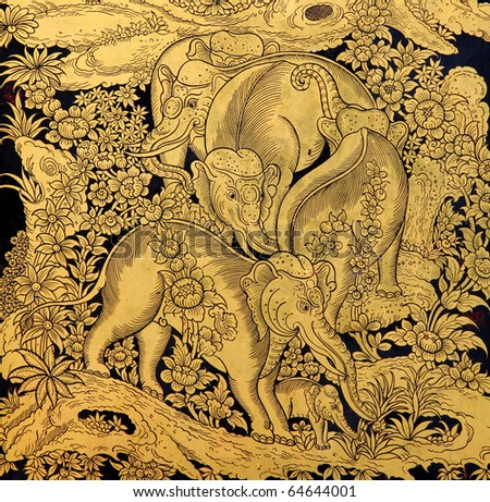 family of elephant in traditional Thai style art painting on window of the temple - stock photo