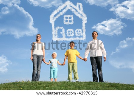 family of four dreams about the house, collage - stock photo