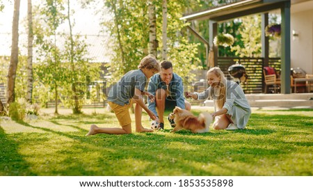 Family of Four Having fun Playing with Cute Little Pomeranian Dog In the Backyard. Father, Mother, Son Pet Fluffy Smart Puppy, teach and train it Commands. Sunny Summer Day in Idyllic Suburban House