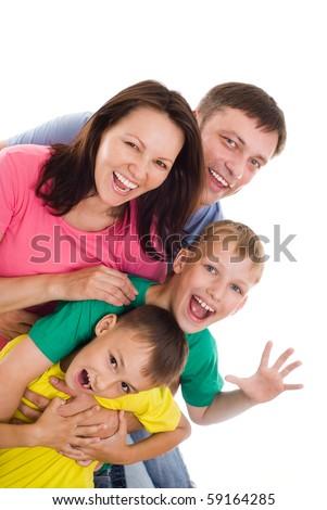 family of four on a white - stock photo