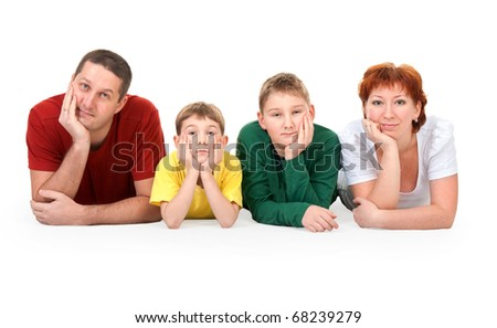 family of four on the floor on a white background