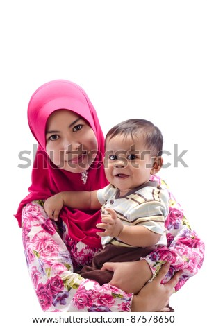 Family of happy Muslim mother and son isolated on white background