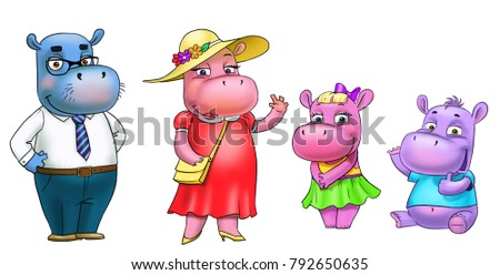 family of hippos, mum, dad, son, daughter, isolated on white