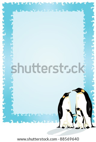 Family of penguins. Two adults and two chicks penguin on the background of a blue frame.