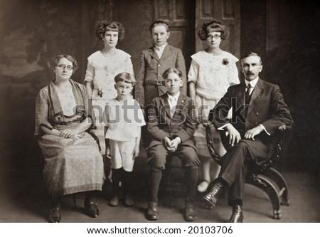 Family of Seven Antique Photograph