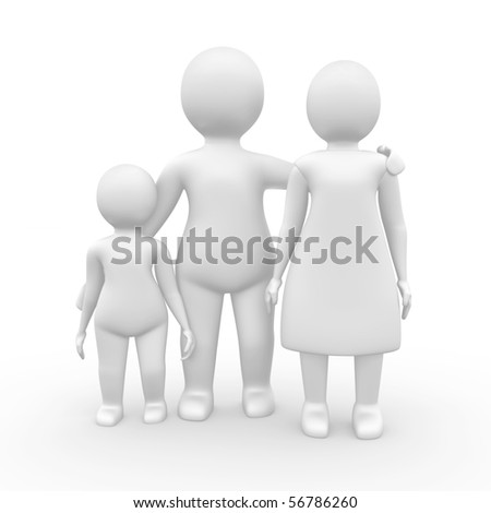 Family of three members, 3d illustration isolated on white - stock photo