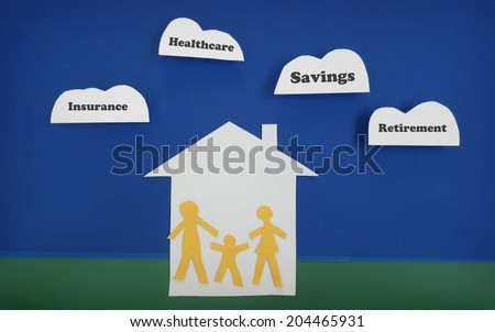 Family of three paper cutout figures with financial-related messages