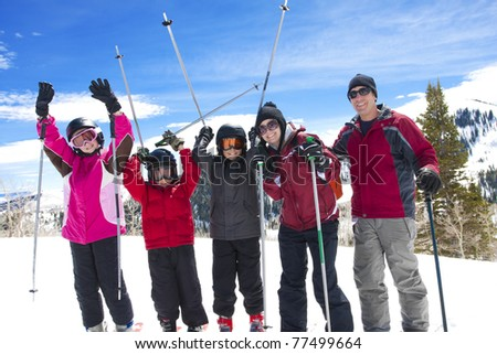 Family on a Fun Ski Vacation