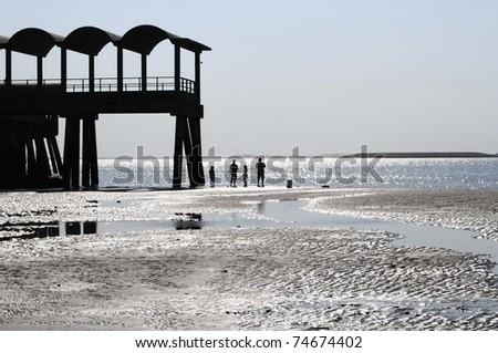 Family on beach go fishing in beautiful ocean water