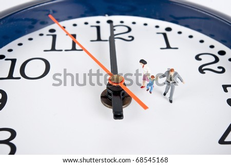 family on clock in white background