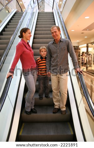 family on elevator shop