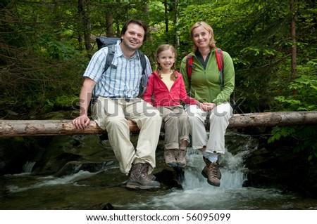 Family on mountain trek