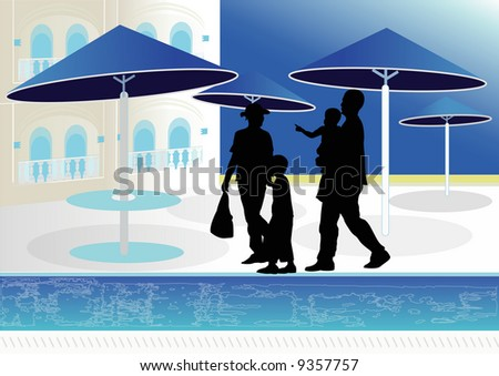 family on summer vacation by swimming pool