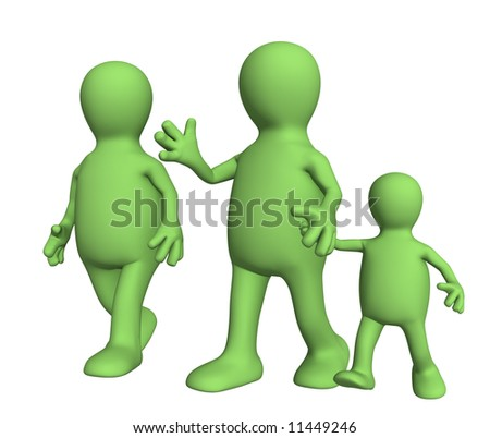 Family on walk - mum,  daddy and  child. Objects over white