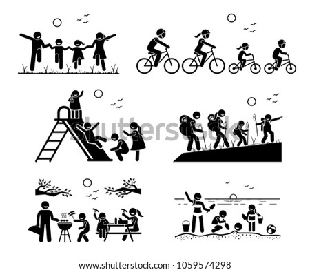Family outdoor recreational activities. Stick figure pictogram depicts family in the park, riding bicycle together, playing at playground, hiking, outdoor bbq picnic, and enjoying themselves at beach.