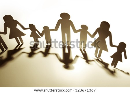 Family Paper Chain Cutout Holding Hands 323671367