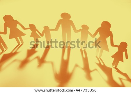 Family Paper Chain Cutout Holding Hands 447933058